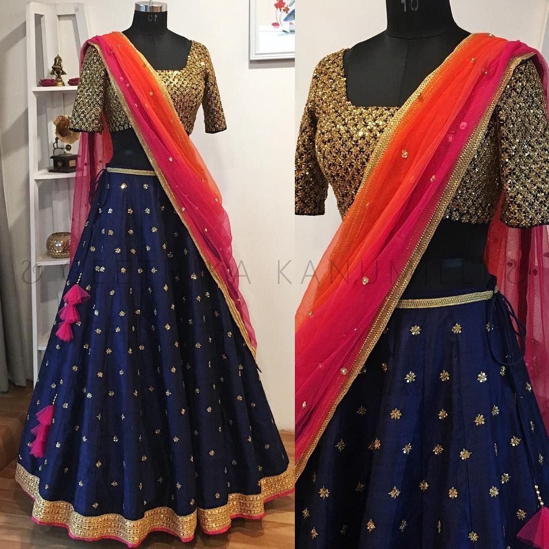 24203f45d9 Beautiful royal blue color designer lehenga and gold zardosi work blouse  with pink and orange color combination net dupatta. Lehenga and blouse with  hand ...