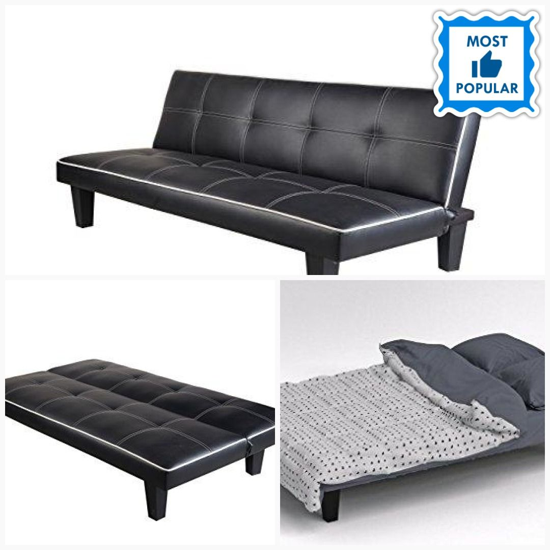 Incredible Click Clack Faux Leather Sofa Bed Black Spare Room Or Guest Caraccident5 Cool Chair Designs And Ideas Caraccident5Info