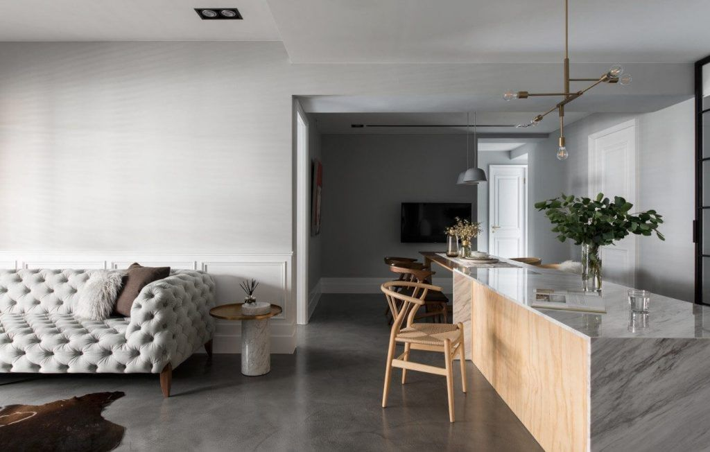 Minimalistisch modern en klassiek chique woonkamer woonkamer