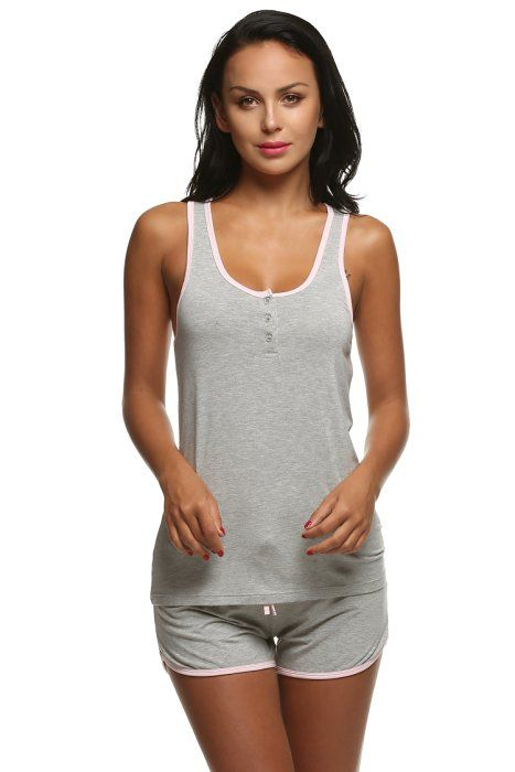 04d736092f Ekouaer Sleepwear Ladies Cami Sets Sleeveless Racer Back Lingerie Large  Size (Gray
