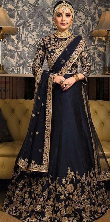 d5fc63a40c4 Regal looking navy blue and gold Indian bridal outfit  goldjewelry  makeup   smokeyeye for custom bridal and party wears email zifaafstudio gmail.com  visit ...