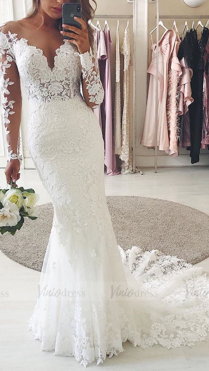 Photo of Floral Guipure Lace Mermaid Wedding Dresses with Long Sleeves VW1314