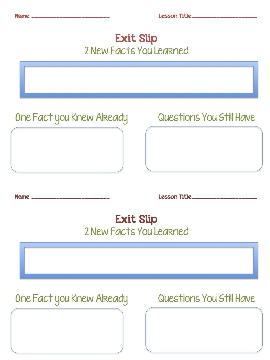 Tween Teaching Parent Contact Log And Exit Slip Sheets May Be