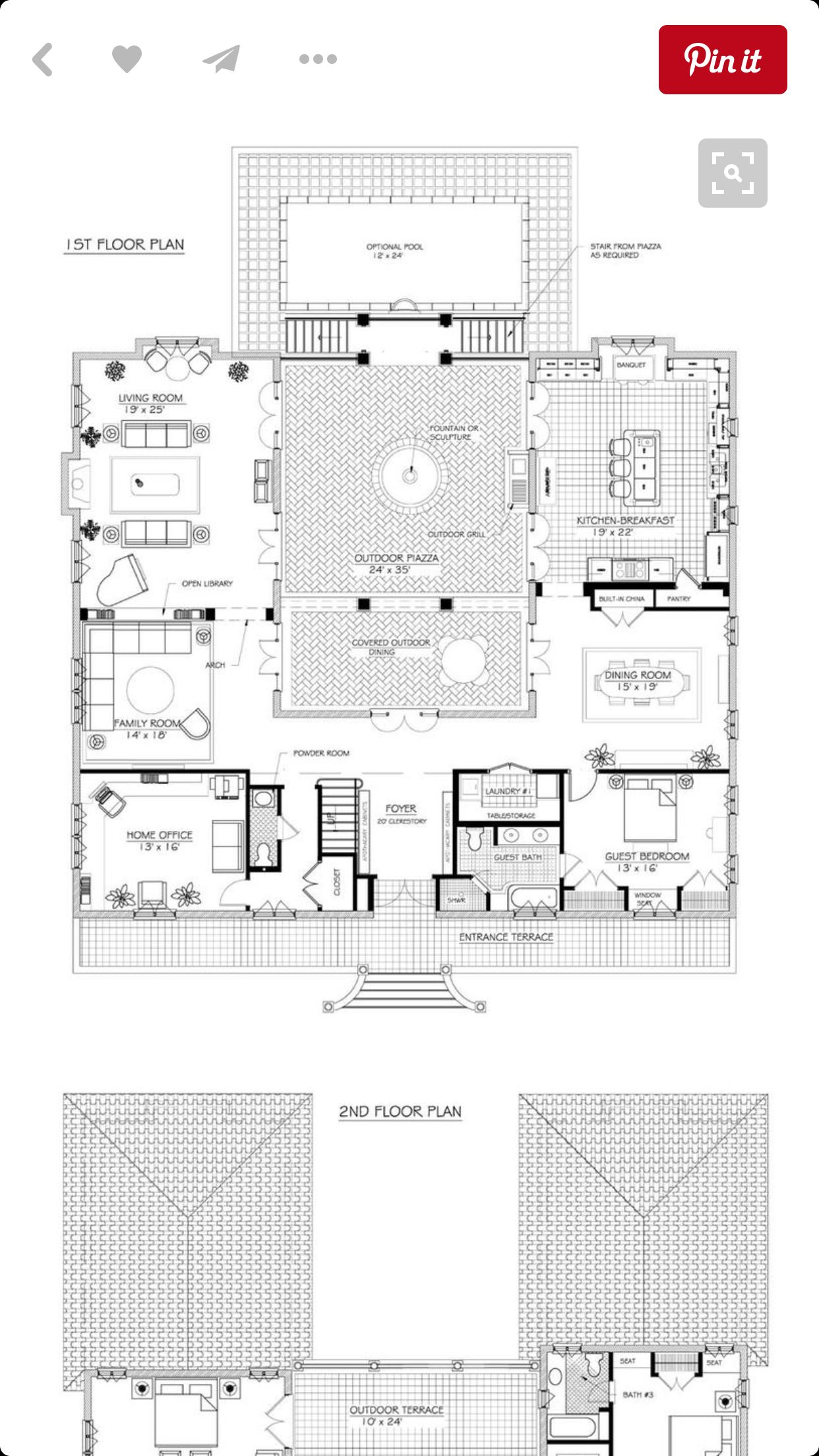 Pin By My Info On Future Dream Home Third Times The Charm Courtyard House Plans French House Plans Farmhouse Floor Plans