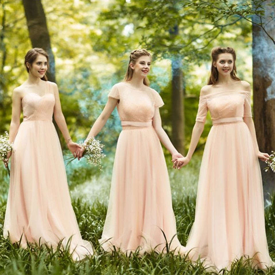 Find a romantic long blush bridesmaid dresses with sleeves pleat find a romantic long blush bridesmaid dresses with sleeves pleat tulle lace cute bridesmaid dress boat ombrellifo Gallery