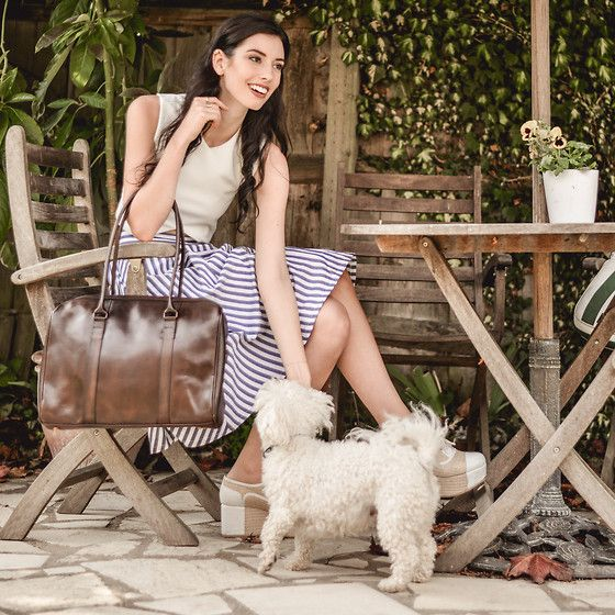 natural Brown Leather Tote, Sheinside Striped Skirt
