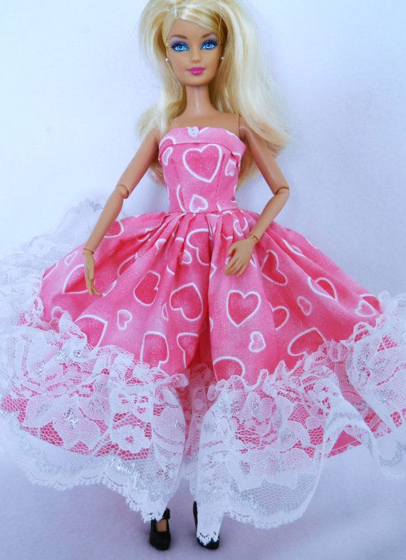 Barbie Dress Barbie Doll Clothes Pink and White Valentine Dress ...