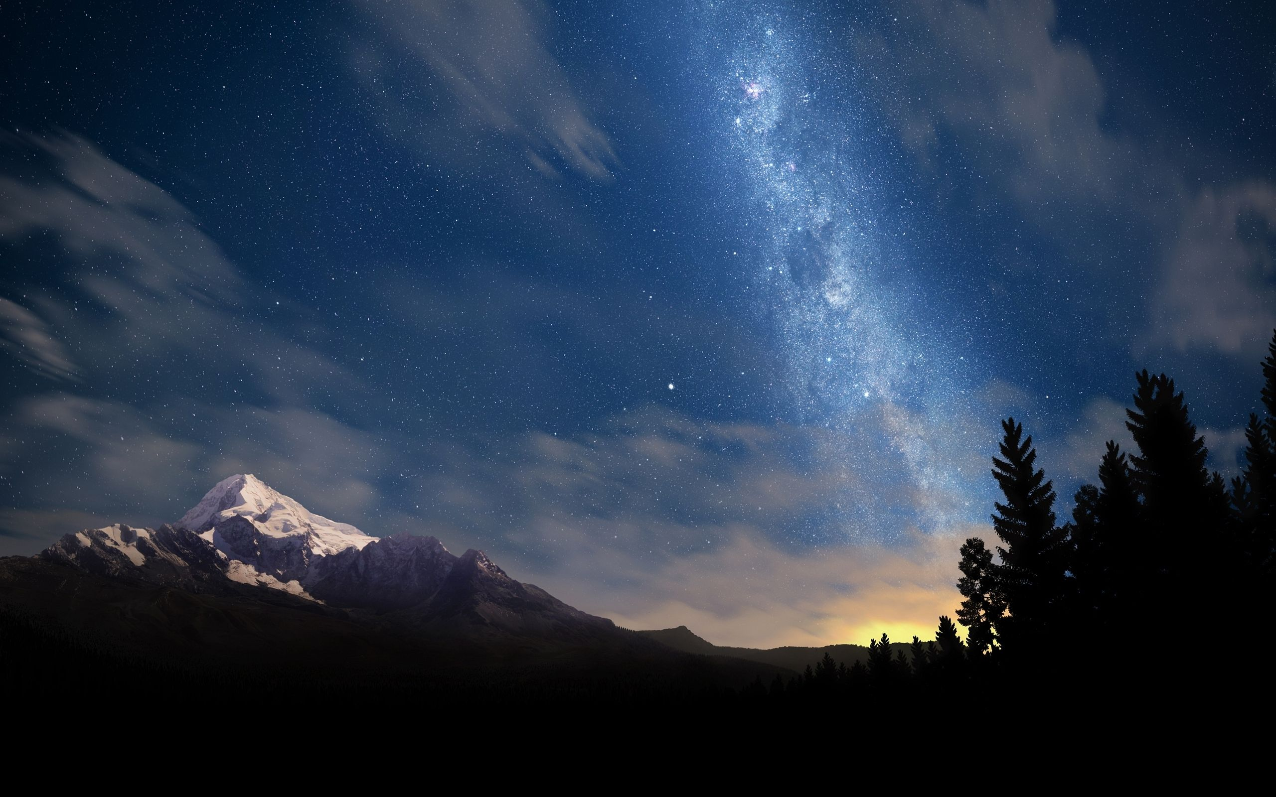 Download hd wallpapers of landscape Milky Way Mountain in