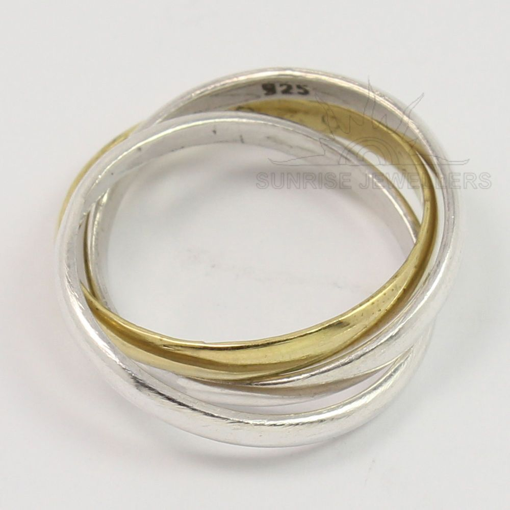 925 Sterling Silver & Brass 2 mm wide Stacked 3 Bands Unique Ring All Sizes #Unbranded