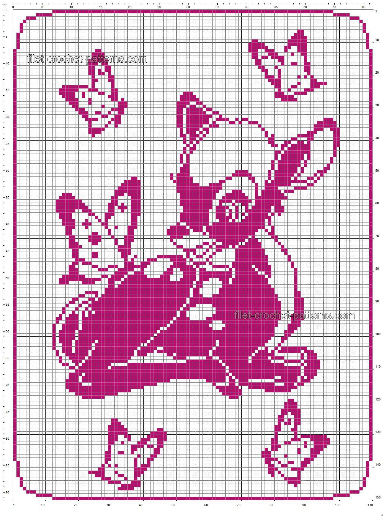 Couverture pour bébé à motif de filet au crochet gratuit avec Disney Bambi 110×150   – Handarbeit