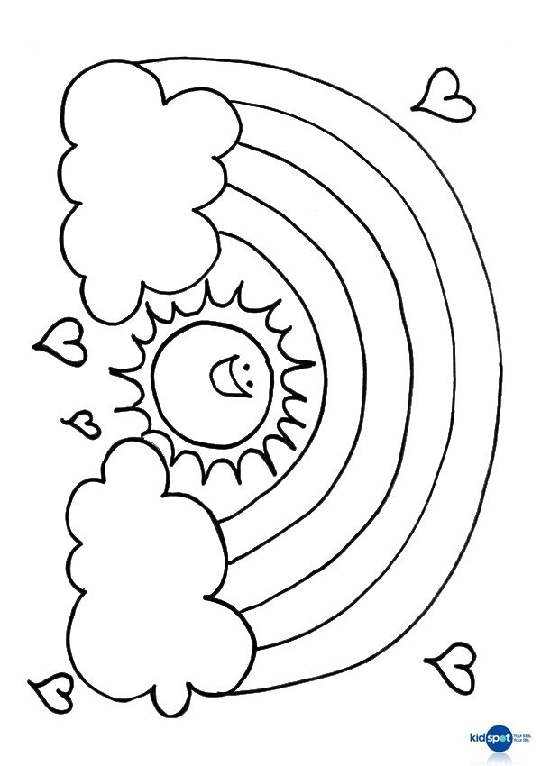 Free Online Rainbpw Sun Colouring Page Rainbows Sunday school