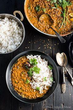 Curry de lentilha com oleo de coco
