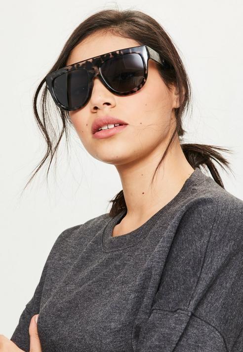 21620f25568 Missguided Black Flat Bar Leopard Sunglasses Flat Top Sunglasses