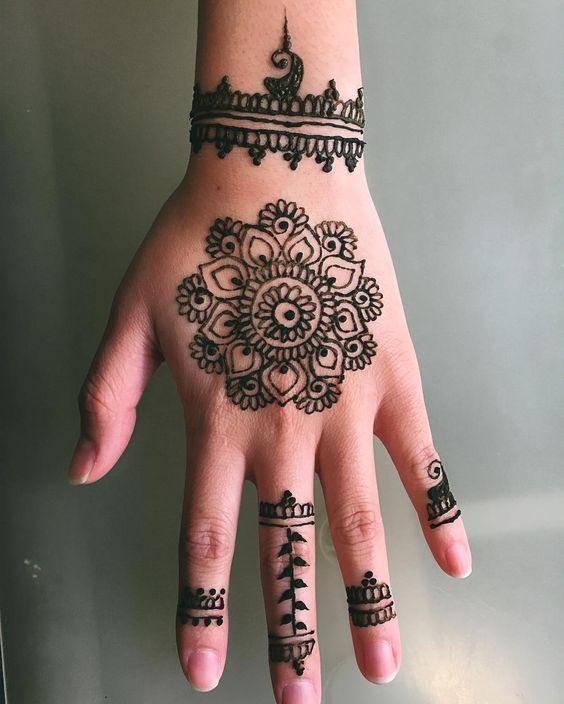 Green Henna Wrist Tattoo: Henna, Flower Henna, Henna