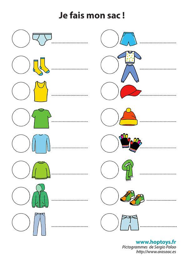 Connu Spécial vacances : une liste en pictogrammes pour l'aider à faire  VT13