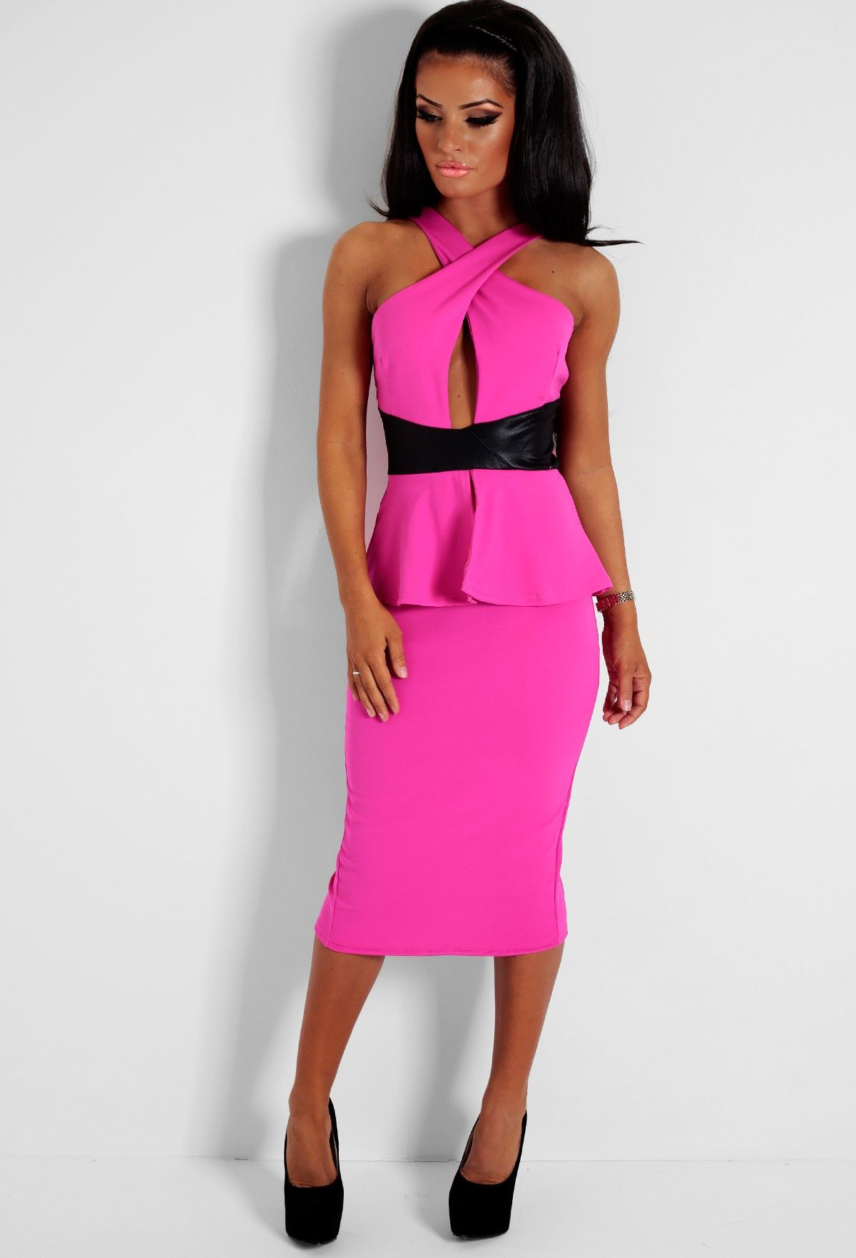 Paris Pink and Black Leatherette Peplum Midi Dress   Peplum midi ...