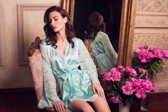 8093d0c2ba80 Turquoise Tiffany Blue Short Silk Bridal Robe with Lace Sleeves by  Alingerie