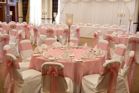 Pink Tablecloths And Chair Sashes