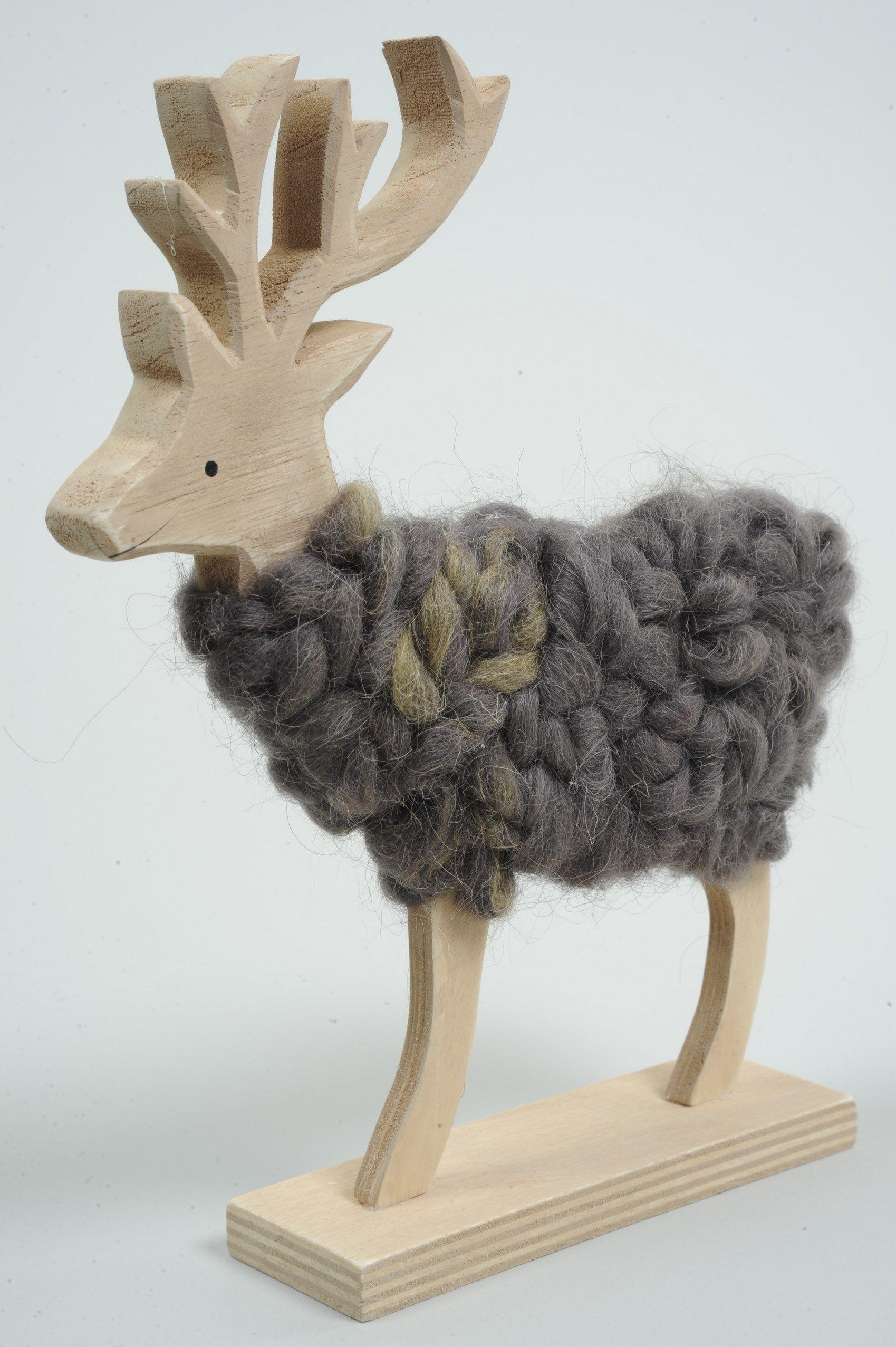 Deco Noel En Bois Naturel renne de noël bois/laine brun gm - animaux déco noël