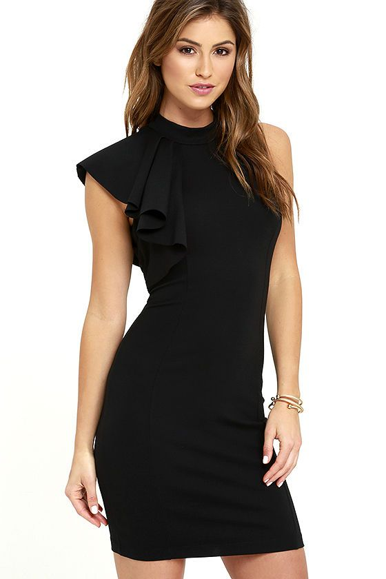 fcb98adcd6d3 In need of a little black dress? Look no further than the Au Revoir Black  Bodycon dress! Halter neckline with a fun one-shoulder ruffle tops this  stretch ...