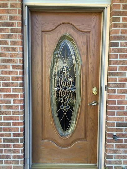 Feather River Doors 37 5 In X 81 625 In Silverdale Brass Full Oval Lite Stained Medium Oak Fibergla Door Glass Design Front Door Design Wood Door Design Wood
