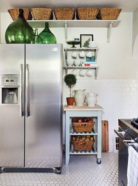 Small Kitchen Storage Put Baskets Above The Cabinets Kitchen
