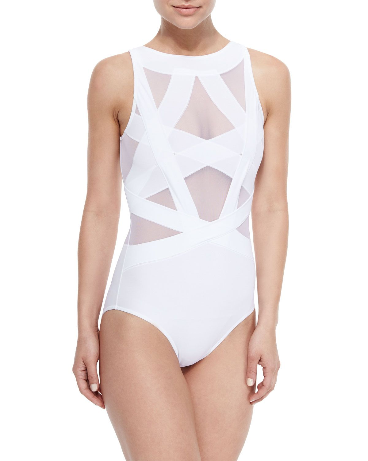 133643b032 Esther Strappy Mesh One-Piece Swimsuit, White, Women's, Size: XS - OYE  Swimwear