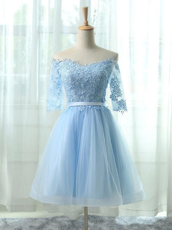 fee9c945450 Sexy Homecoming Dress Light Sky Blue Appliques Tulle Short Prom Dress Party  Dress JK323