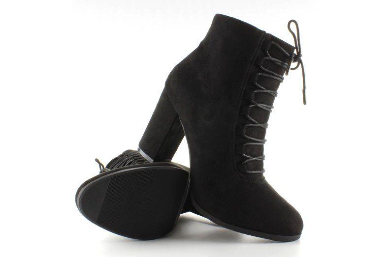 Botki Damskie Obuwiedamskie Czarne Botki Zamszowe Szeroki Obcas Nc16 Black Obuwie Damskie Women Shoes Heels Aesthetic Fashion