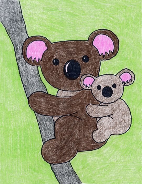The Only Thing Cuter Than A Koala Is And Baby This Drawing May Look Pretty Detailed But Its Really Just One Shape Drawn In Two Sizes
