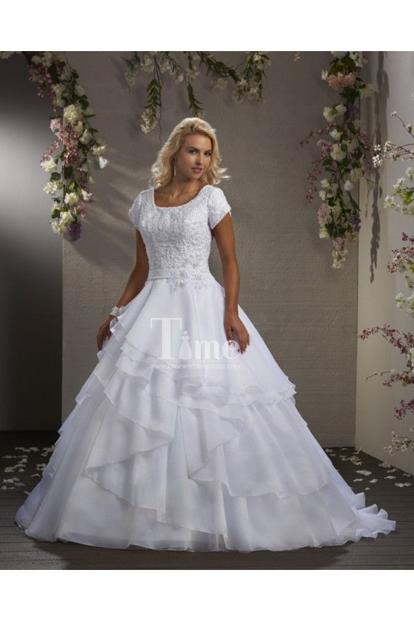 Modest Short Sleeve Ball Gown Scoop Neckline Wedding Dresses With