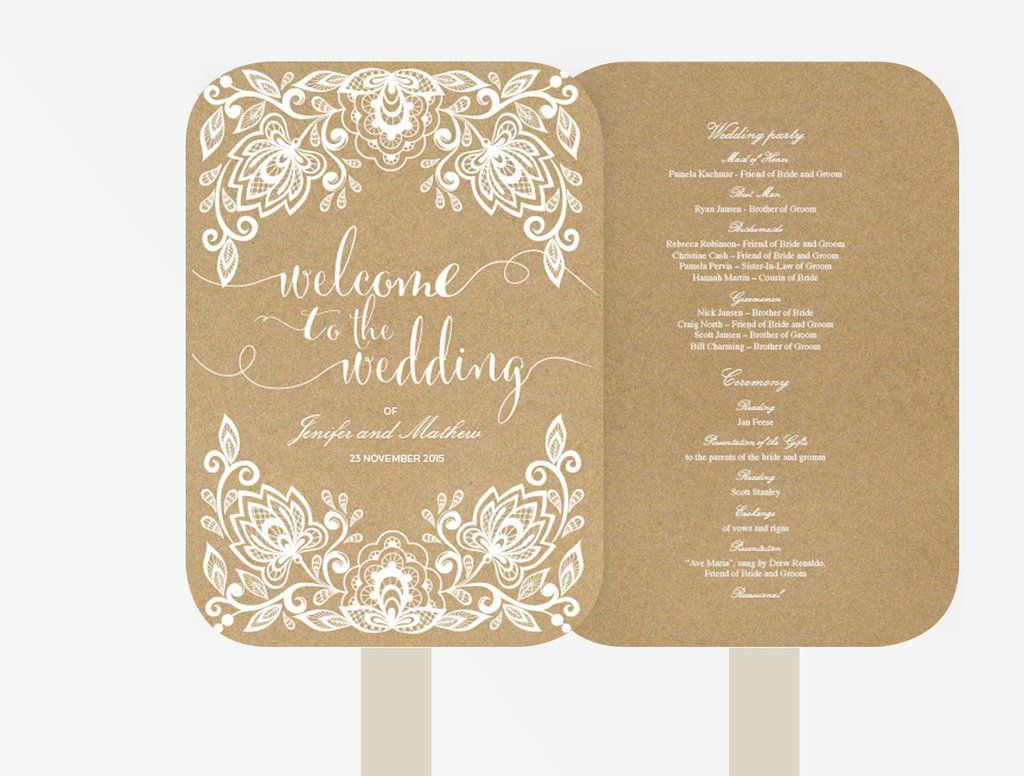 Wedding fan program editable ms word template diy kraft white