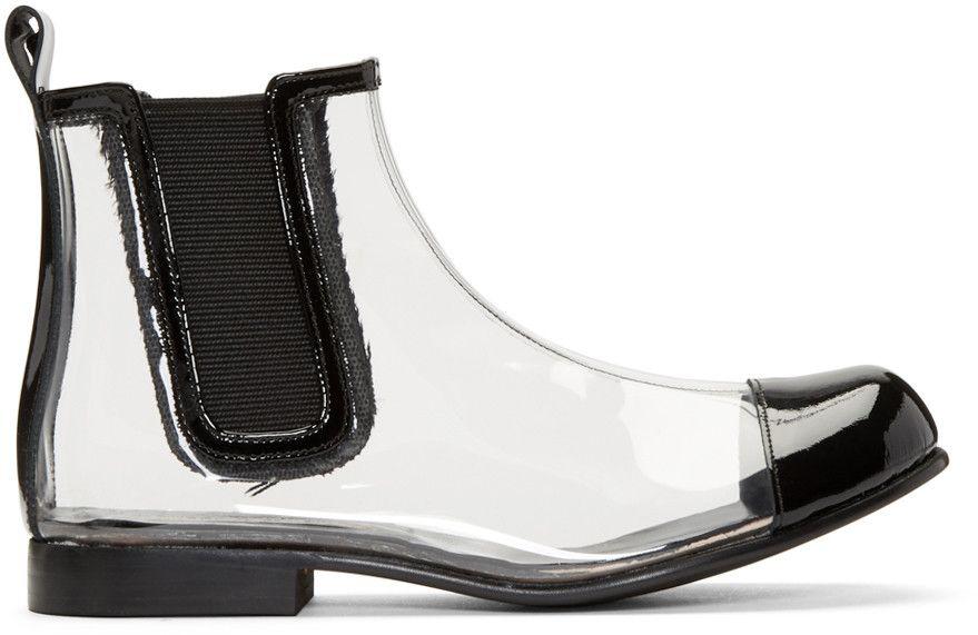 Comme des Garçons Comme des Garçons Black & Pink Plexiglass Heel Sock Boots 65k8yhIwl