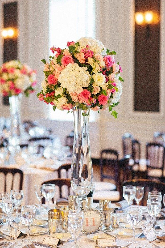 Resultado de imagen para centros de mesa altos para bodas - Mesa tower crystal ...