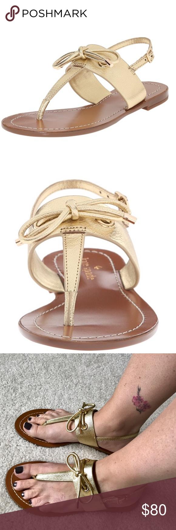 9a8708740241 Kate Spade Carolina Flat Sandal GOLD Elegant yet sensible