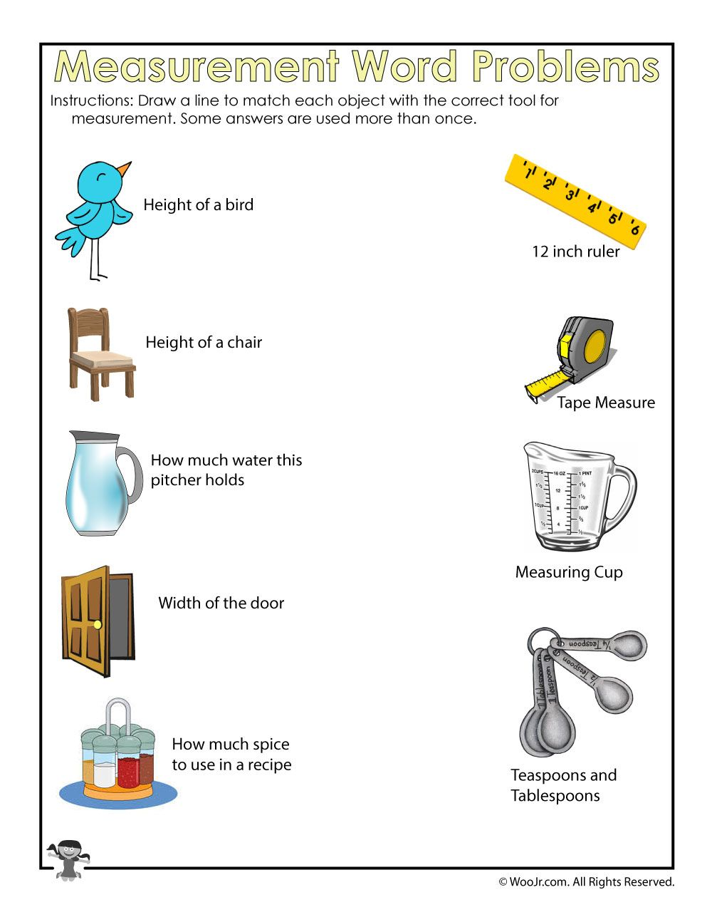 Spring Math Word Problem Worksheets - Learning Measurements   Woo! Jr. Kids  Activities   Kindergarten worksheets [ 1294 x 1000 Pixel ]