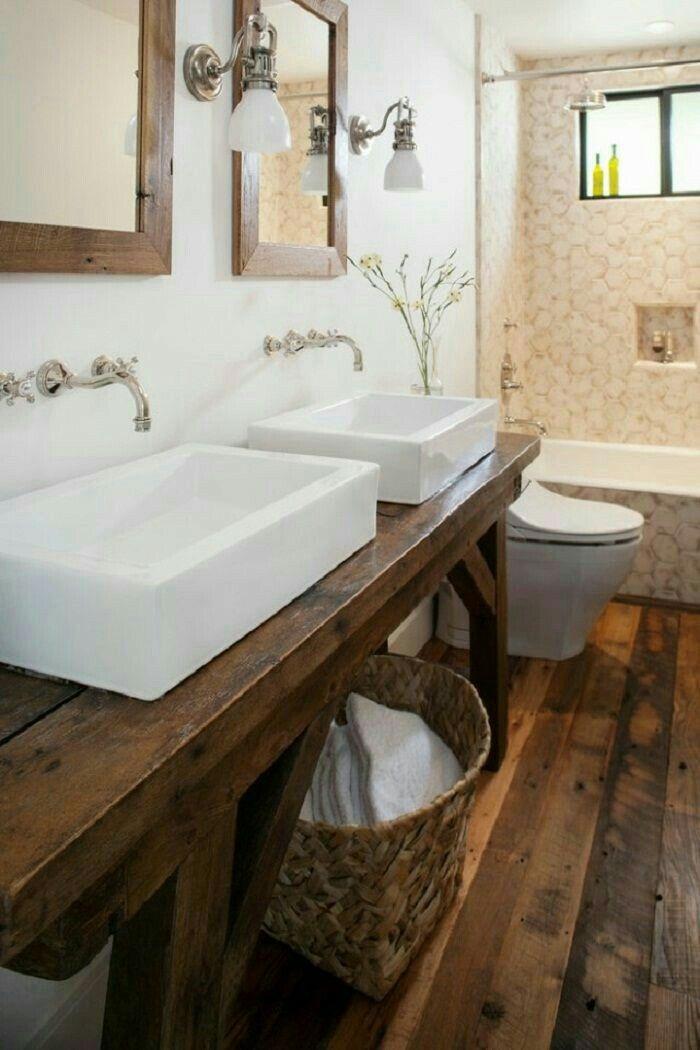 Those Wood Floors Mirrors And Vanity Bathroom Pinterest Farmhouse Rustic Bathrooms