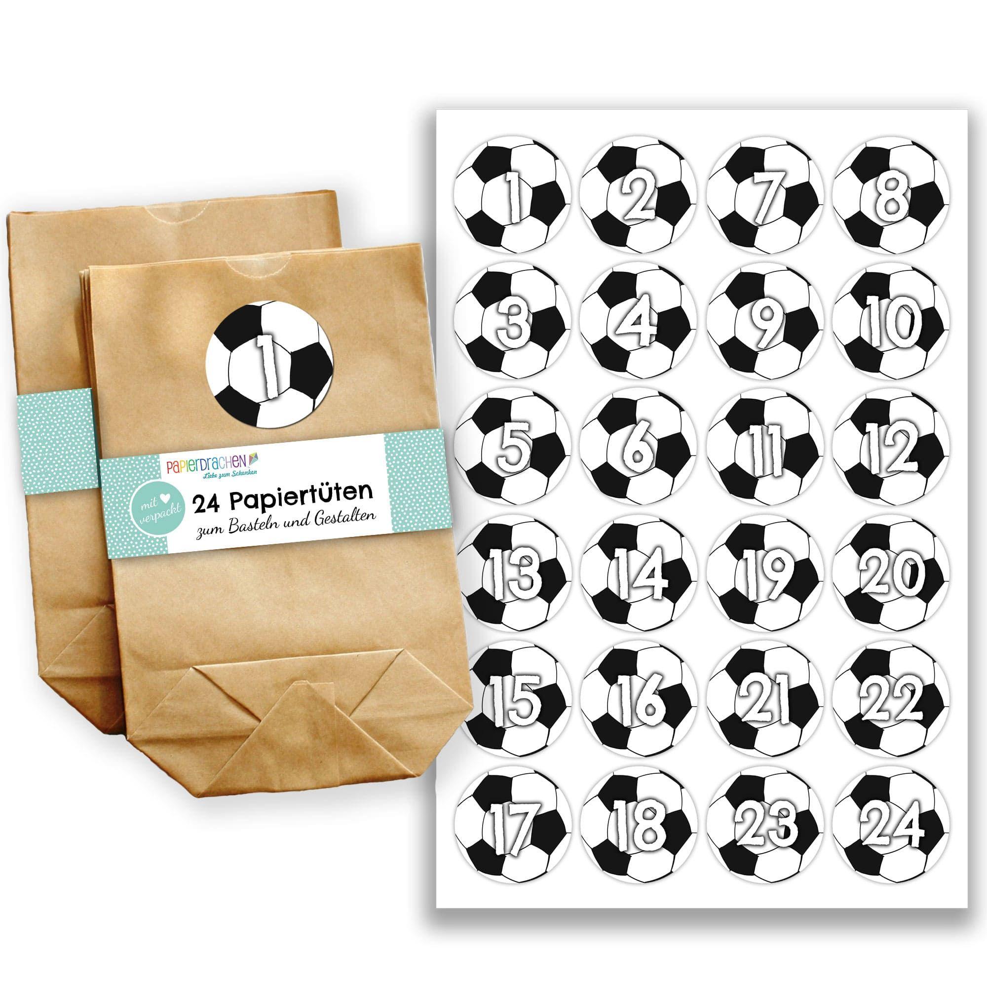 Papierdrachen Adventskalender Set 24 Braune Papiertuten