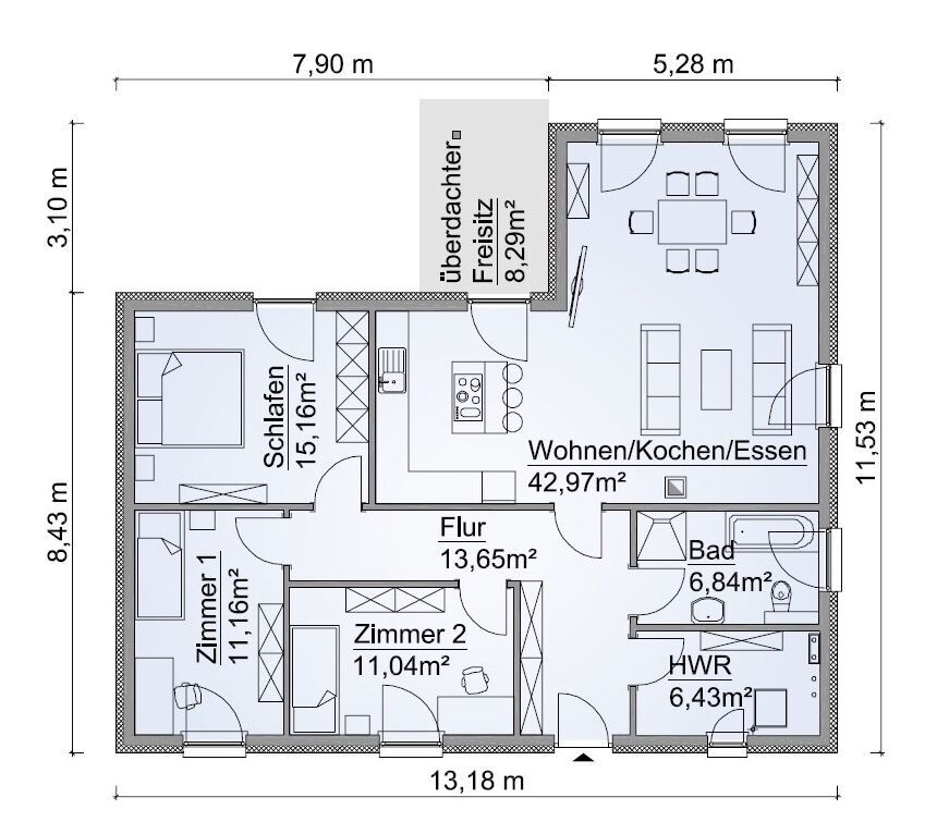 Bungalow Grundriss barrierefrei mit Walmdach Architektur