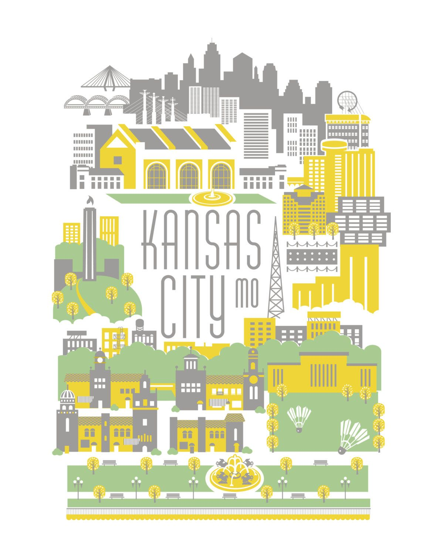 Kansas City - KCMO - Print - Home Decor - Gray & Yellow | Art ...