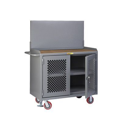 """Little Giant USA 65"""" x 53.5"""" x 24"""" Mobile Service Bench with Clearview Doors, Center Shelf and Pegboard Panel"""
