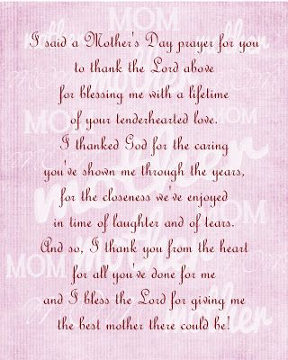 Gael S Crafty Treasures I Said A Mother S Day Prayer For You Mother S Day Prayer Prayer For You Prayers