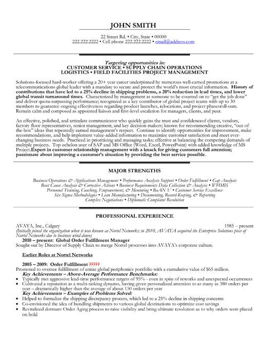 Sample logistic resume