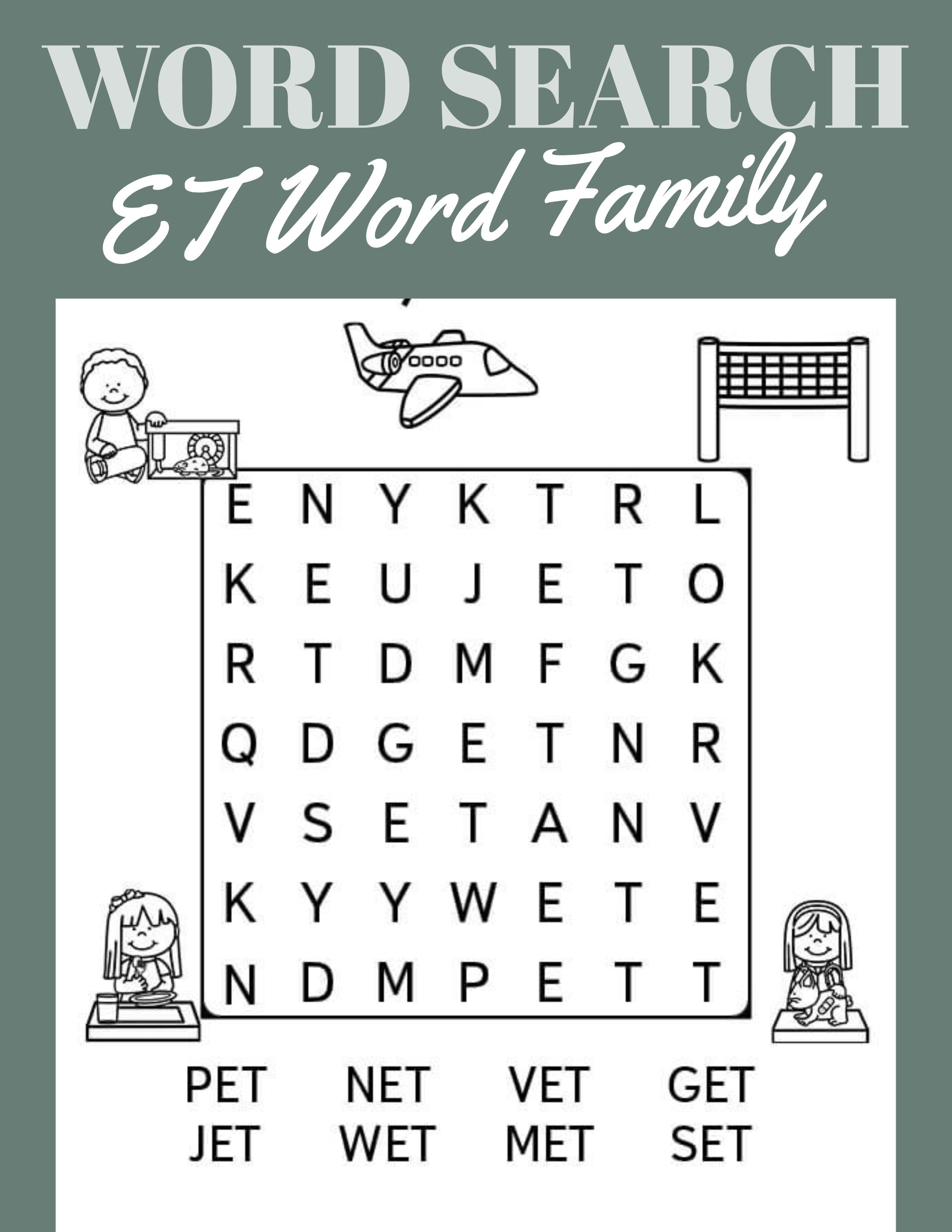 Et Word Family Word Search