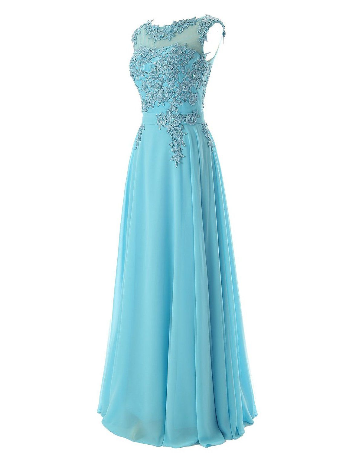 Diyouth Long Bridesmaid Chiffon Prom Dresses Scoop Evening Gowns ...