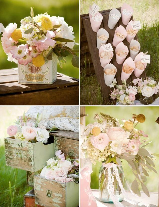 Vintage Hochzeit Im Garten Blumen Schubladen Spitze Schleifen