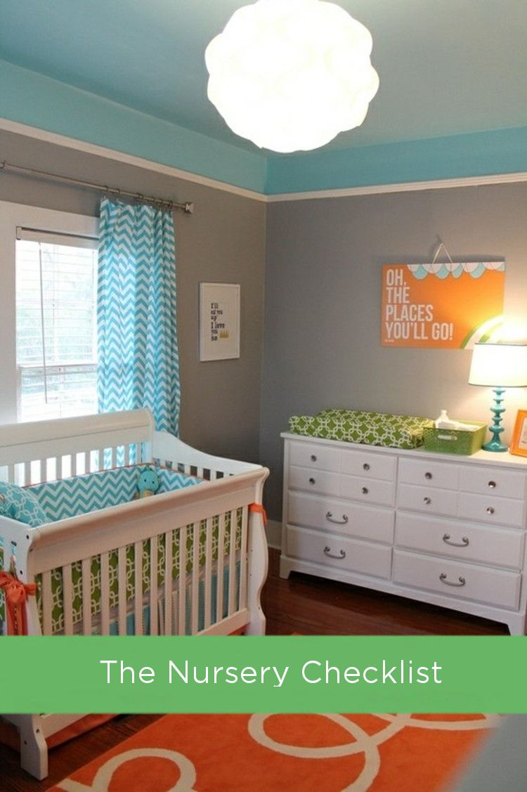 Your must-have baby registry checklist! From room decor, to bedding, to feeding supplies, you'll be clued in on every possible item your baby could need. - Plus I love these colors for the nursery!