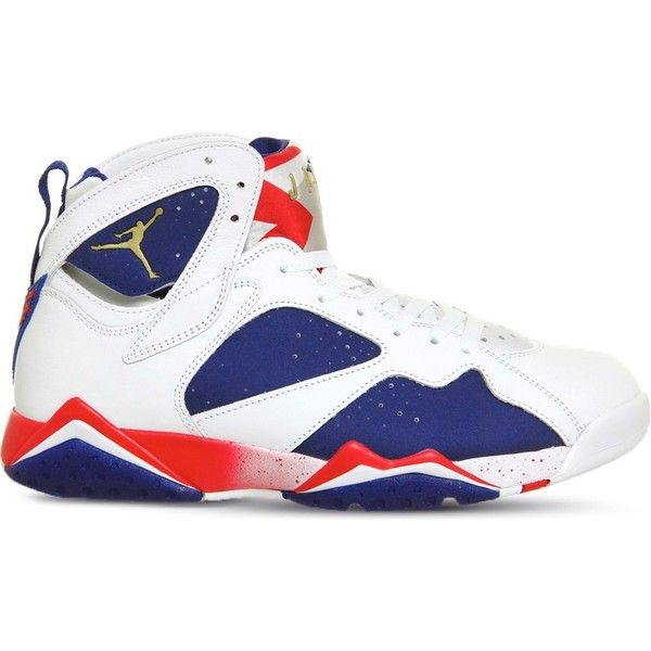 NIKE Air jordan 7 leather trainers ($125) ? liked on Polyvore featuring  shoes,