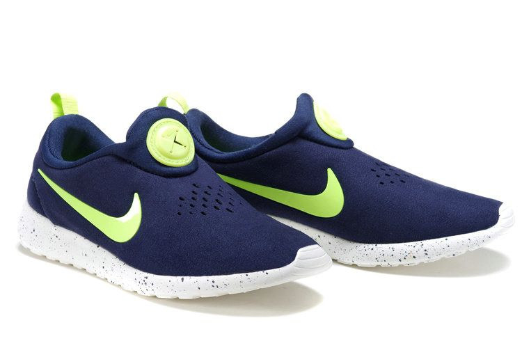 check out 66a93 ad28c 2018 Cheap Mens Nike Roshe Run Slip On Suede Midnight Navy Electric Green  ...