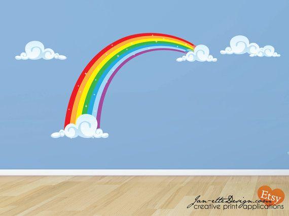 rainbow wall decal rainbow room fabric wall decaljanettedesign